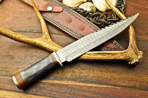 Cutlery Salvation Custom Handmade Damascus Steel Hunting Blade Bowie Knife