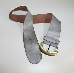 Women's Vintage Wide 3.75in Silver Distressed 100% Leather Belt XL 35in 39in