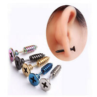 2Pcs Cool Stainless Steel Screw Ear Studs Unisex Men Women Punk Style Earrings