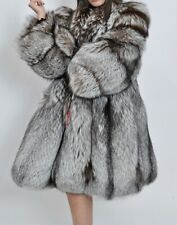 NEW GENUINE SILVER FOX FUR COAT SWINGER, NOT MINK SABLE CHINCHILLA M - L 10 - 14