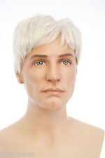 Gray White Grey Medium Straight Men Wig