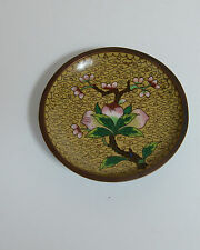 Vintage Cloisonne Dish Small Plate China Yellow Floral Imperial Yellow