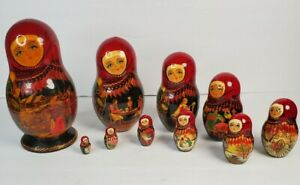 Vintage Set of 10 Wooden Russian Nesting Dolls Largest  9 Inches Tall Signed