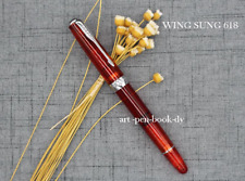 Wing Sung 618 Transparent red Piston Fountain Pen Fine Nib silver clip