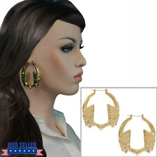 Pierced Earrings Hoop Big Egyptian Pharoah Gold Tone 2 1/2""