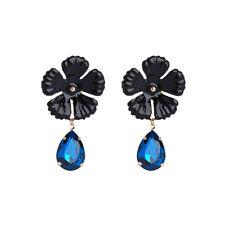 Big Black Enamel Flower Women Elegant Fashion Earrings Stud Crystal Rhinestone