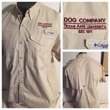 Texas A&M Aggies DOG COMPANY Columbia PFG SZ L is XL Fit Vented Fishing Shirt