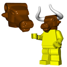 Custom Minotaur Head With Horns for Lego Minifigures -Pick your Color!-