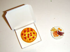 Doll Sized Miniature Pizza In Box, Breakfast Plate For Barbie Diorama dc3