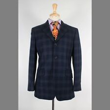 H&M 40R Navy Solid Polyester Two Button Mens Sport Coat Blazer Jacket