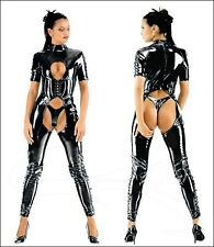 Ladies Sexy Lingerie Black PVC FAUX LEATHER Jumpsuit Catsuit Club Fancy Dress 18