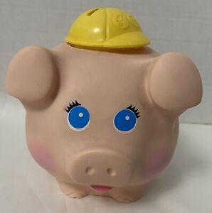 Vintage 1980 Fisher Price Pink Plastic Piggy Bank Yellow Cap Hard Hat