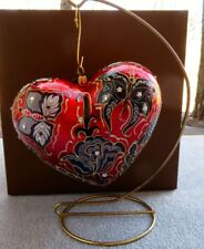 Jay Strongwater Artisan Butterfly Nouveau Siam Glass Heart Ornament New w Box