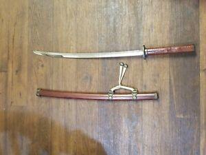Vintage SAMURAI Katana Training Sword, Wooden Scabbard and Hand-Carved Handle