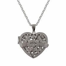 Sterling Silver CZ Filigree Heart Locket Womens Pendant Necklace