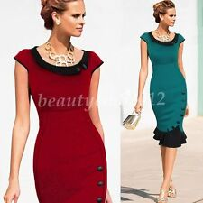 Cotton Blend Round Neck Sleeveless Work Dresses for Women