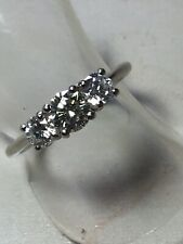 Platinum Sparkling Natural Diamond Trilogy Ring. Size M1/2. U.S. Size 6.75. 1ct