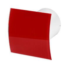 """Silent Bathroom Extractor Fan 100mm / 4"""" with Red Front Panel Low Energy S100PEG"""