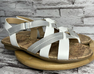 Naturalizer Size 7.5 Wyla Sandals Womens White Silver Leather Slingback Shoes