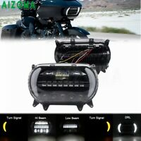 LED Dual Headlight Projector Front Turn SIgnal Lights Kit For Harley Road Glide