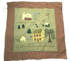 """Folk Art stitched fabric Applique textile sampler """"One Day in the Country is .."""""""