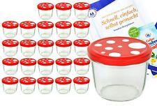 24 Sturzgläser 230ml rot weiß gepunktet Marmeladengläser Einmachgläser Glas