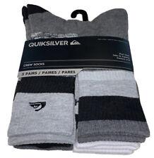 Quicksilver Crew Socks 5 Pair Men 6-12 Black Gray White w Various Logo Ride Surf