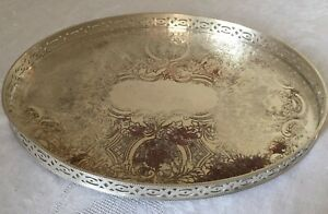 Mid Century 1960's English Silver Plate on Copper Engraved Oblong Cocktail Tray