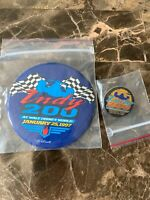 Indy 200 At Walt Disney World Race Pin Lapel Pin Back Button 3 1/2 Inch Lot Of 2
