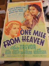 Claire Trevor One Mile From Heaven 1937 Original One-Sheet Poster N3039