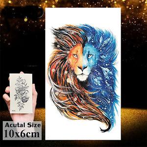 Temporäres Tattoo Löwe Farbig Lion Loewe Muster Groß Einmal Einmal König