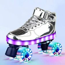 Roller Skates for Women Men Fashion Smooth Leather Flash Four Wheels (size 41)