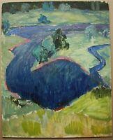 Russian Ukrainian Soviet Oil Painting impressionism landscape rivulet field