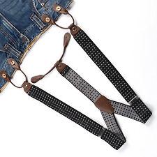 Fashional Men's Suspenders Braces Adjustable Leather Button Holes Plaids BD751