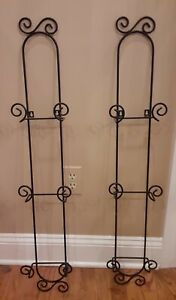 LOT OF 2, HOLDS 3 Plates Decorative Plate Rack — Matte Black Wrought Iron