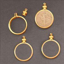 Dime USA / 10 cent Coin Holder Bezel ~ Goldtone charm, necklace, pendant, pk/10