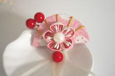 Girls' Handmade Japanese Kanzashi Hair Pin Clip Pink Sakura Fan Pearls 1pc