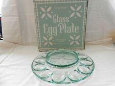 "2000 Longaberger Green Glass Deviled Egg Plate 11"" Never Used Original Box w1s7"