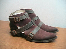 Womens 7 Freebird 'Jade' Burgundy/Black Distressed Leather Ankle Boots MSRP $245