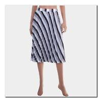 BALENCIAGA 1250$ Authentic Black & White Bayadere Printed Sunray Pleated Skirt