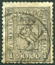NORWAY-1867 1s Black Sg 22 FINE USED V29436