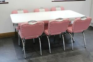 American 50s Diner Furniture Large Booth Table & 6 Pink Studded Chairs
