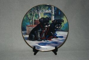 'A New Leash On Life' Fine China Plate, 'Puppy Playtime' collection - Pre-owned