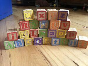 25  Vintage Wooden Children Building Blocks Alphabet Pictures ABCs Missing Q