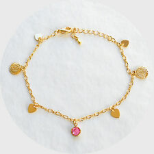 Arabic Coin Ankle Bracelet Heart Charm Birthstone 24k Gold Plated (9 - 10 Inch)