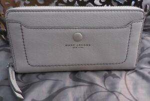 MARC JACOBS~Leather EMPIRE CITY Large Zip Around Continental Wallet~GREY~NWT$200