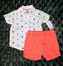 NWT Carters Baby Boy Clothes 6 Months 2 Piece Short Sleeve Shirt Shorts Outfit