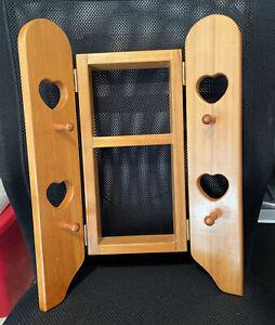 Vintage Wood Knick Knack Hanging Display Wall Shelf Heart Cut Out w/ Doors+Pegs