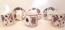 Set of 3 cups and saucers playing card motifs white with playing card pictures