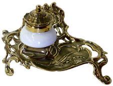 CALAMAIO SCRITTOIO PENNINO  OTTONE lucido IN STILE LIBERTY contenitore ceramica